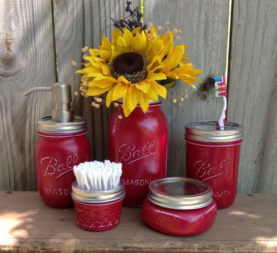 Mason Jar, Cranberry, Soap Dispensr, Bath, Bathroom Accessories, Mason Jar Dispenser, 30 color choices, The Original 5 PC Bath Set,