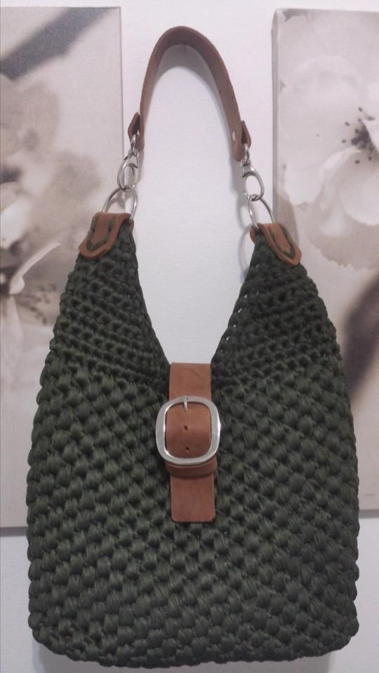 .crochet and leither bag..adorable