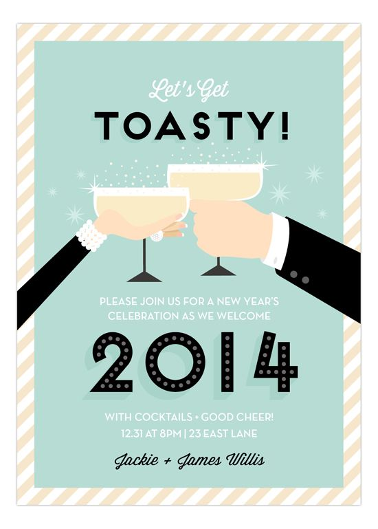 Pale Blue Toasty New Years Eve Invitation