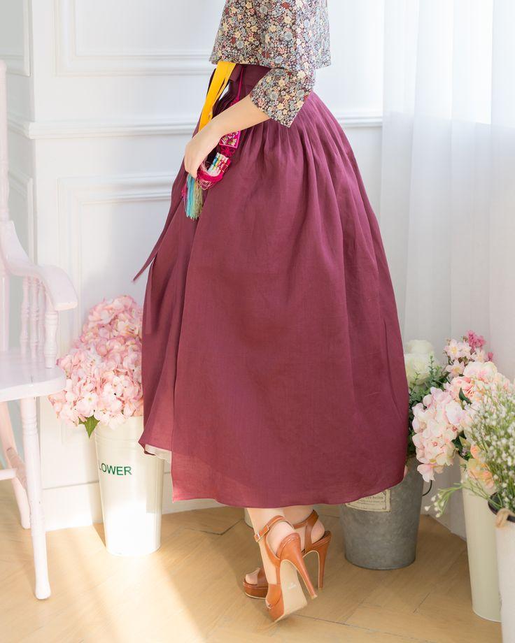 생활한복 허리치마 함초롬 마르살라빛 : 다래원 한복