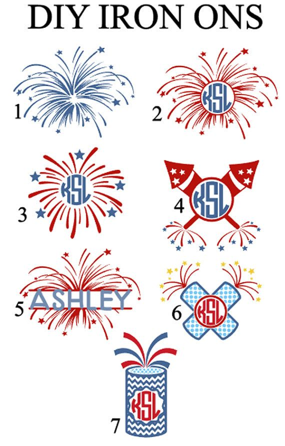 4th of july iron ons  diy iron on  firework shirt transfers  monogram 4th of july iron ons