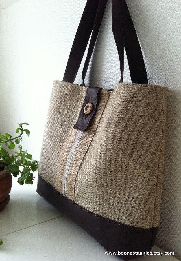 burlap tote bag, shoulder bag in jute, burlap and leather details. $70.00, via Etsy.