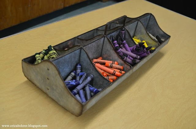Crayon Organization in galvanized chicken feeder.