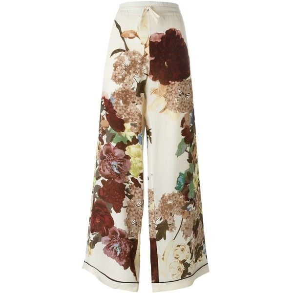 Valentino Silk Pants ($1,695) ❤ liked on Polyvore featuring pants, white, print palazzo pants, wide-leg trousers, wide-leg pants, drawstring pants and white silk pants