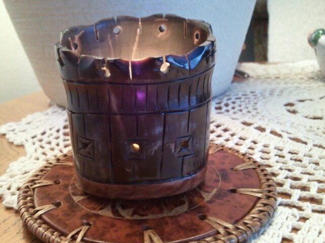 Carved Buffalo Horn Candle Holder Roger Shrum