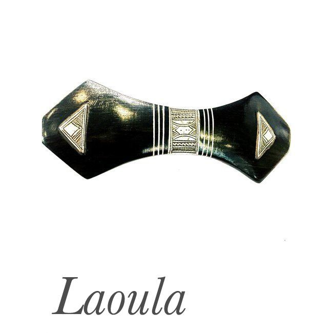 Barrette cheveux en argent et bois d'ébène.Bijoux Touareg 249190