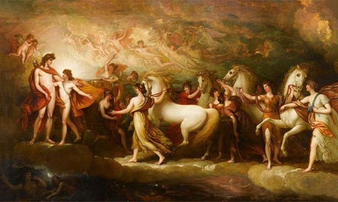 Phaéton, par Benjamin West (1738–1820) -- https://commons.wikimedia.org/wiki/File:Phaeton_benjamin_West.jpg --- modifié par Stef Kervor pour Eden Saga