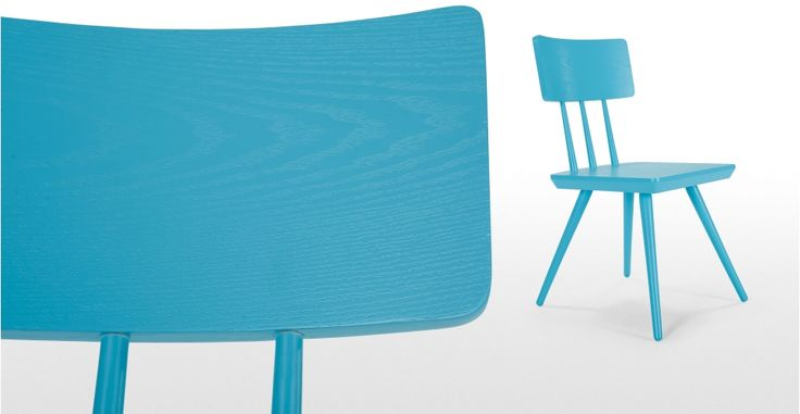 Cornell, une chaise, bleu turquoise