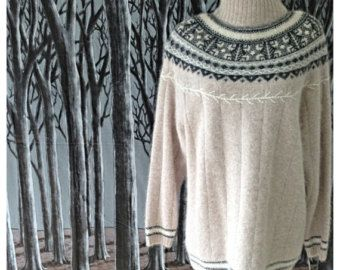 Vintage 80s Angora sweater NWT Fair Isle bead star sequins fuzzy lambswool