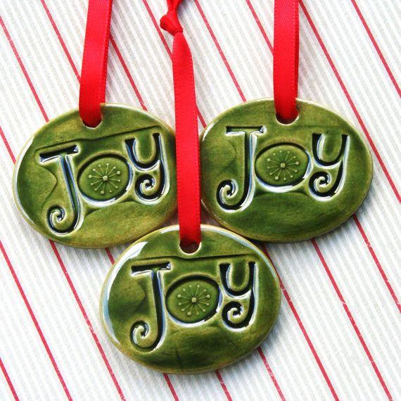 Handmade Ceramic, Christmas Ornaments, Ceramic Ornaments, Green ornaments, Holiday Decoration, Christmas Decoration, Joy Ornament, Tree Ornament,