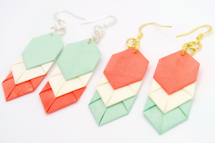 Coral/Mint Chevron Origami Earrings.