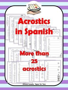 Have you tried acrostics in your Spanish class? Acrostics are fun at any level, especially in the world language classroom! You get more than 25 acrostics with this purchase!