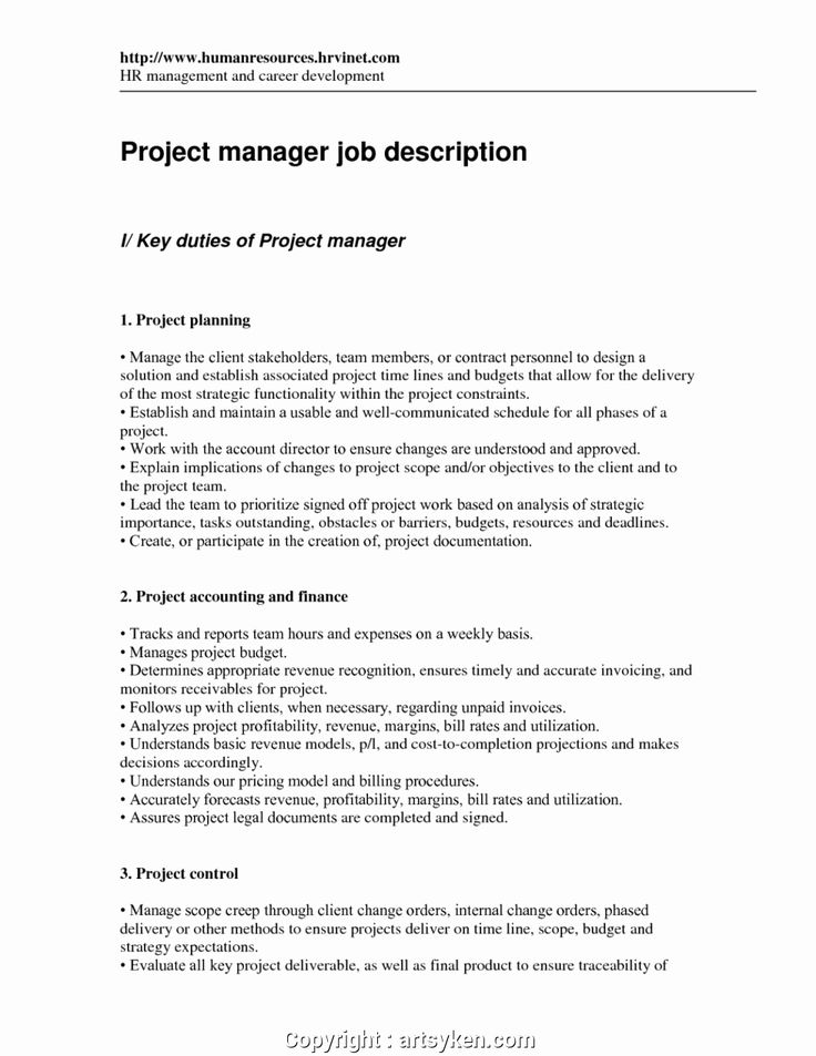 Project Manager Job Description Resume Luxury Free Project