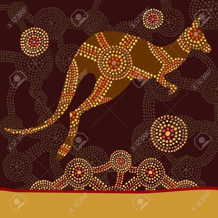 Kangaroo in style of Australian aboriginal dot painting