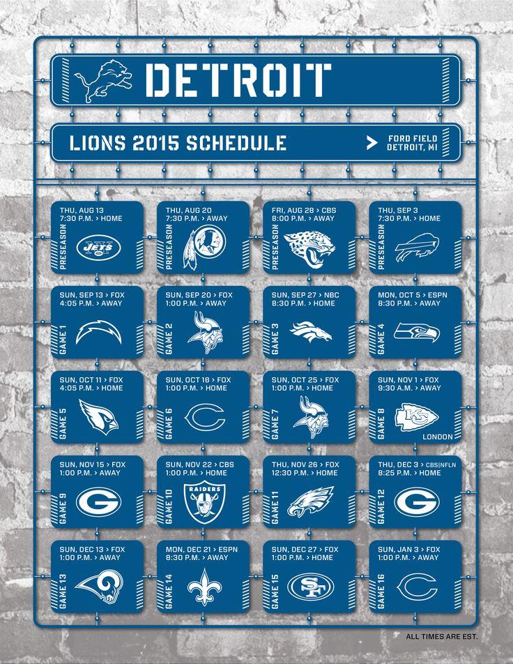 Detroit Lions 2015 Schedule