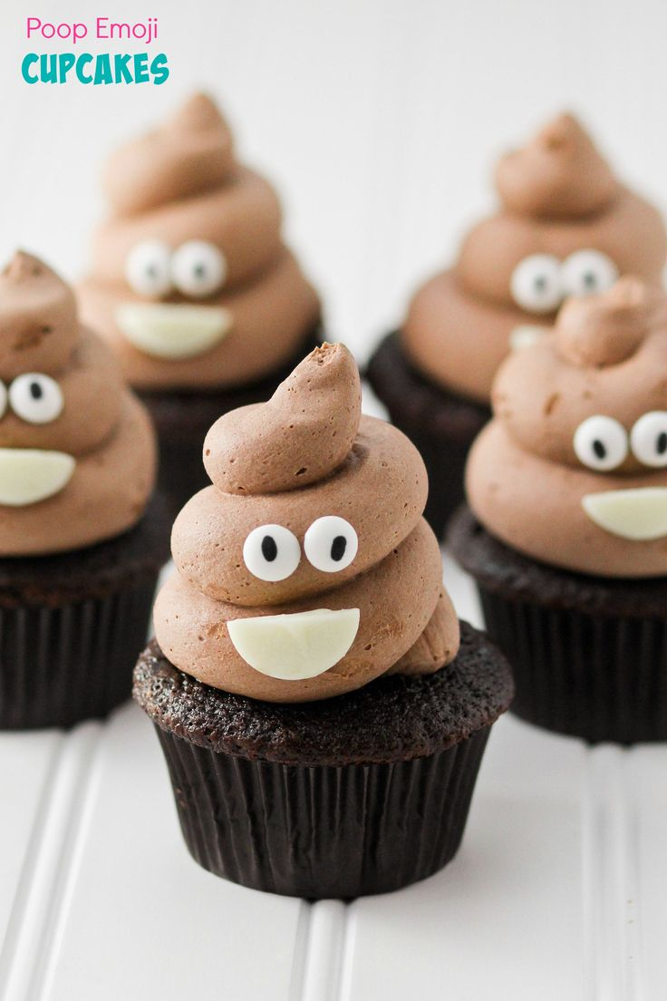 Poop Emoji Cupcakes. The whole family will get a laugh when you serve these up. But they are easy to make and a delicious desert!