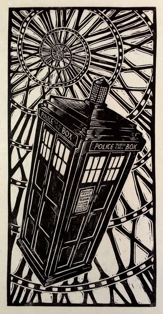 Doctor Who Woodblock Print (12 x 24 inch) on rice paper by Brian Reedy