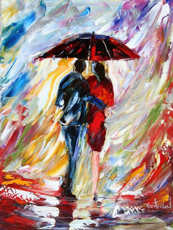 Original oil painting Rain Umbrella Couple by Karensfineart