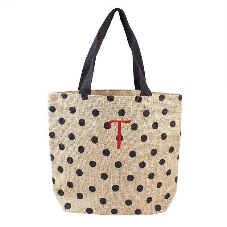 Women's Monogram Black Polka Dot Natural Jute Tote Bags -
