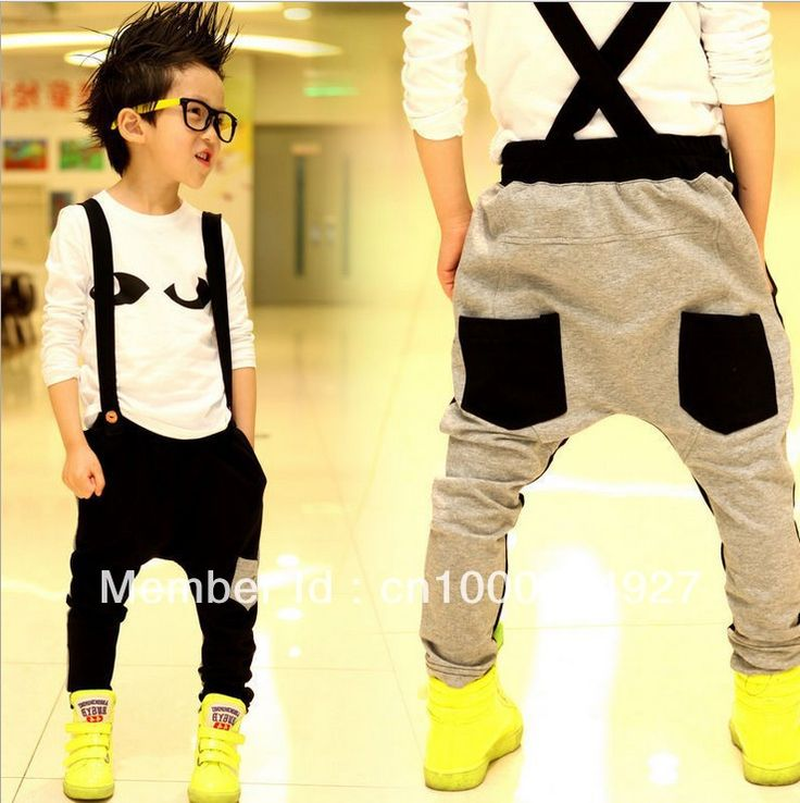Free shipping Aones spring suspenders harlan pants thin black/grey cotton harem boy's suspenders  trousers with two pockets $17.68