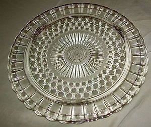 Clear Depression Glass Cake Plates | Vintage Clear Glass Cake Plate Bubble Dots Sunflower Depression | & 652 best Cake Plates Extraordinaire images on Pinterest | Cake ...