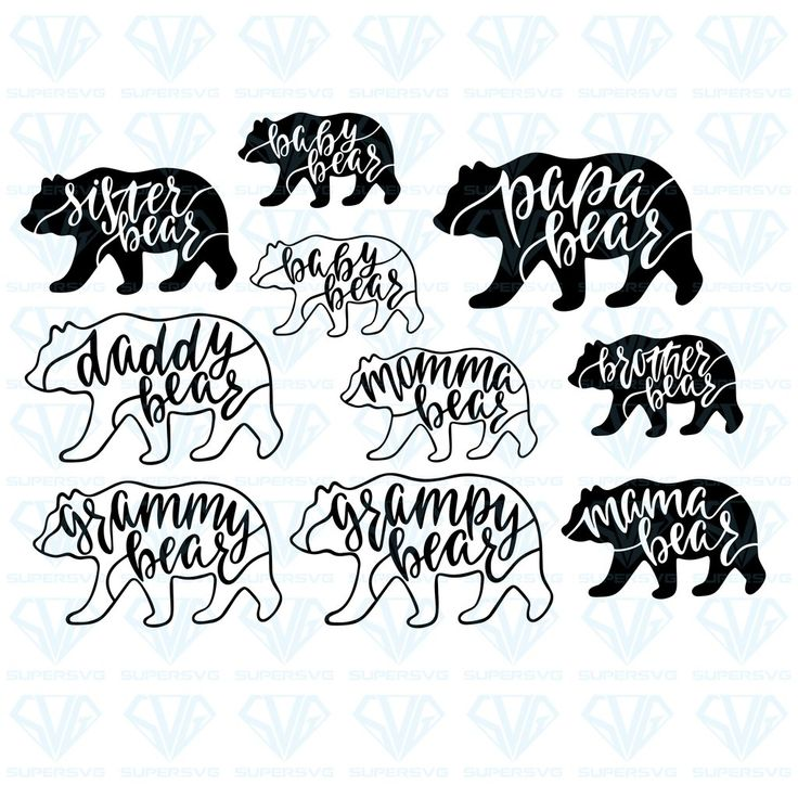 Mama Papa Baby Brother Sister Bear Bundle Svg Files For