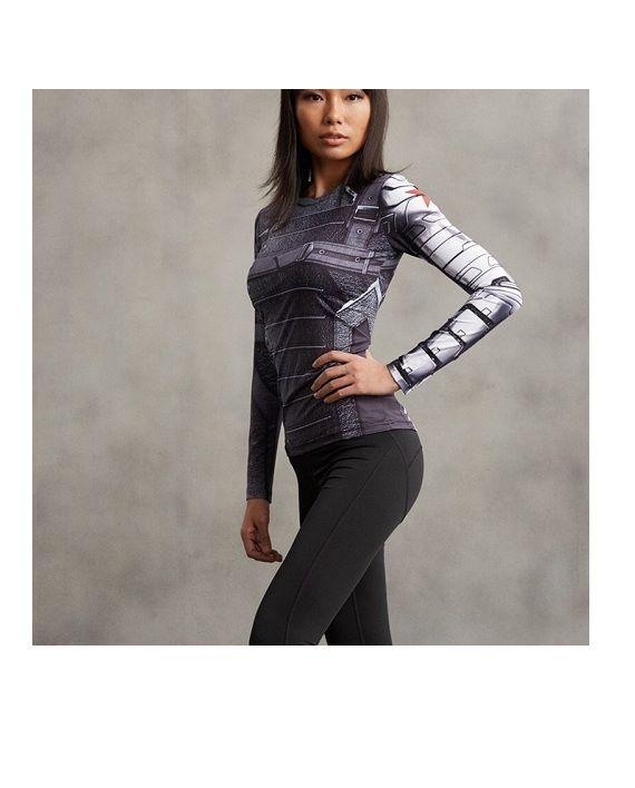 Ladies Winter Soldier Long Sleeve Compression Shirt #Superhero #Shirts #SuperGirlShirt #leggings