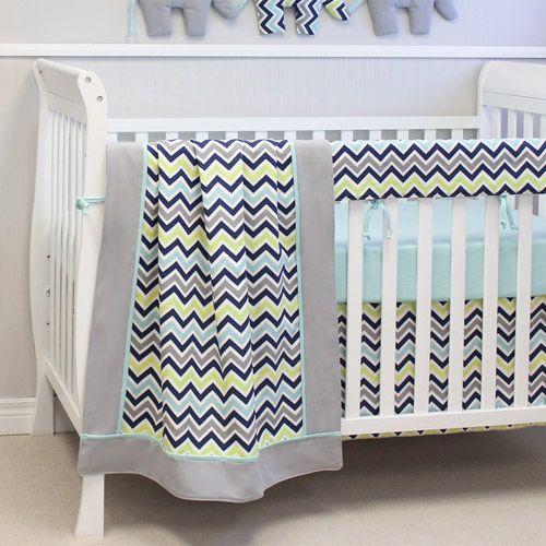 Beautiful 4 piece crib bedding including blanket, chevron dust ruffle, cotton knit aqua sheet, and padded rail protector