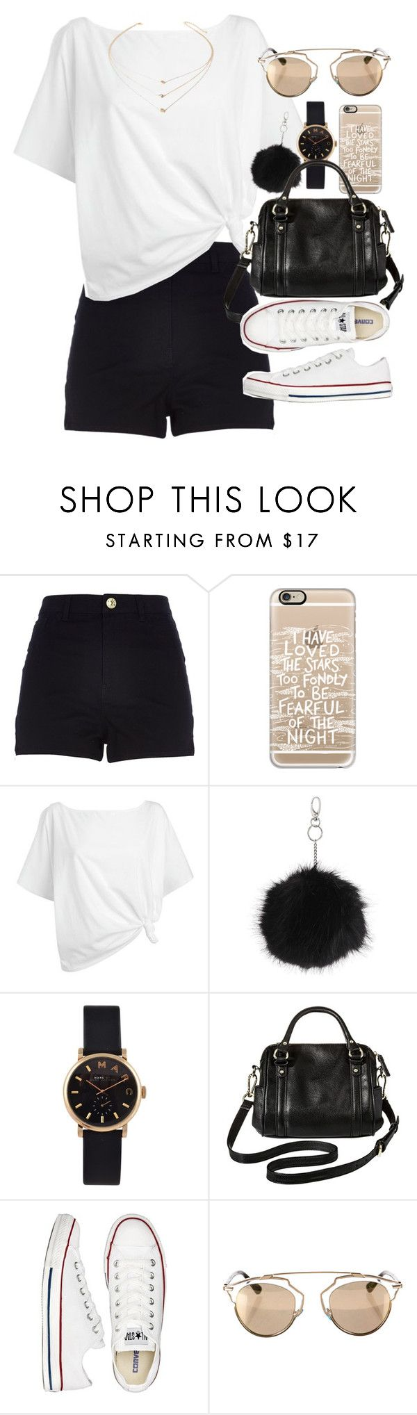 """Outfit for summer with a white top and black shorts"" by ferned on Polyvore featuring River Island, Casetify, Red Herring, Topshop, Marc by Marc Jacobs, Merona, Converse, Christian Dior, Forever 21 and women's clothing"