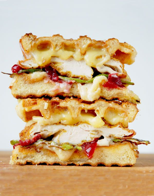 Fried Chicken and waffle #grilledcheese with pickled cherries and okra by Grilled Cheese Social