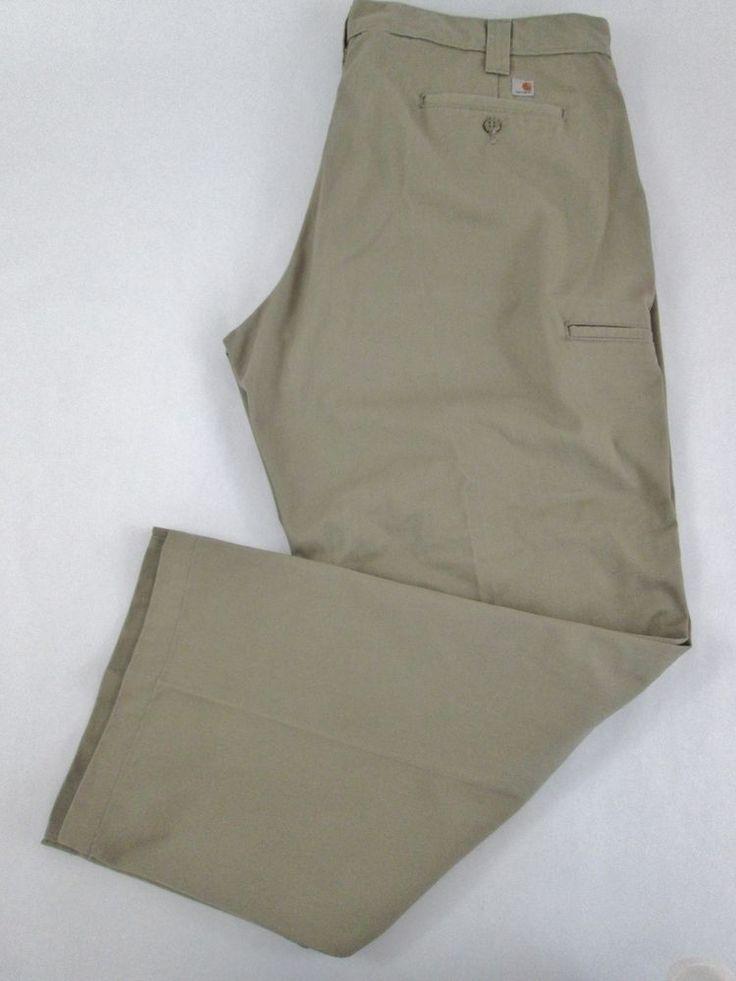 Carhartt Twill Work Pants Double Knee Cell Phone Pocket Khaki Mens 43 x 30 #Carhartt #Work