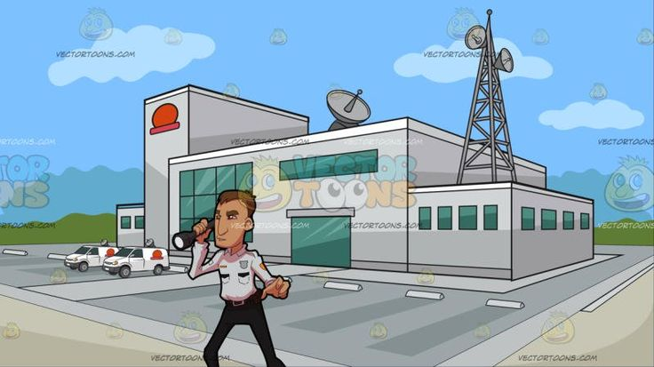 A Security Guard Checking The Premises At Outside A Tv Station :  A man with dark blonde hair wearing a white and black security guard uniform looking alert while checking the premises using the big dark gray flashlight on his right hand. Set in a building with light gray exterior walls a huge parking area antennas and satellites green glass windows and a red logo situated on an open area and surrounded by green trees in the background with blue sky.