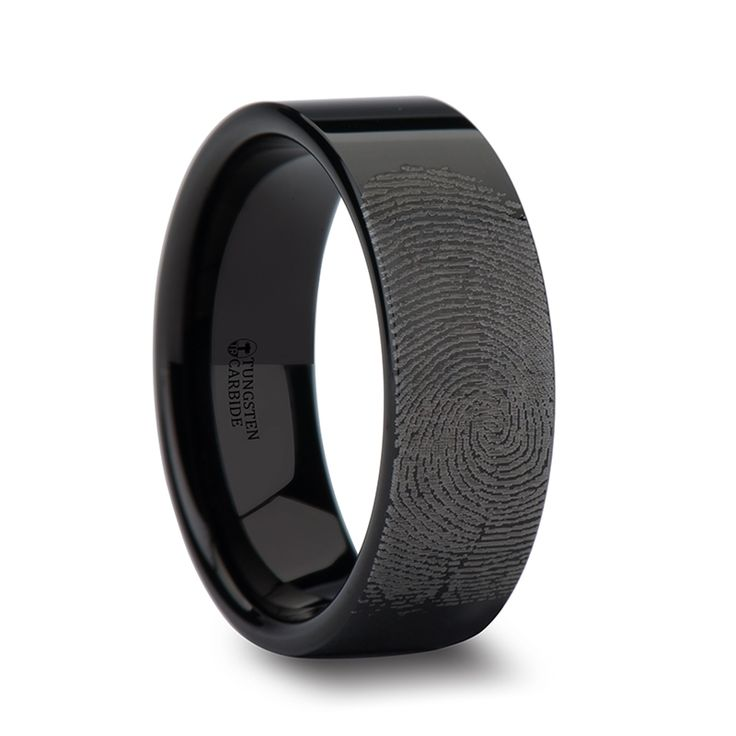 uniquetungstenrings - Fabricius Flat Pipe Cut Black Tungsten Ring Polished and Fingerprint Engraved, $124.95 (http://uniquetungstenrings.com/fabricius-flat-pipe-cut-black-tungsten-ring-polished-and-fingerprint-engraved/)