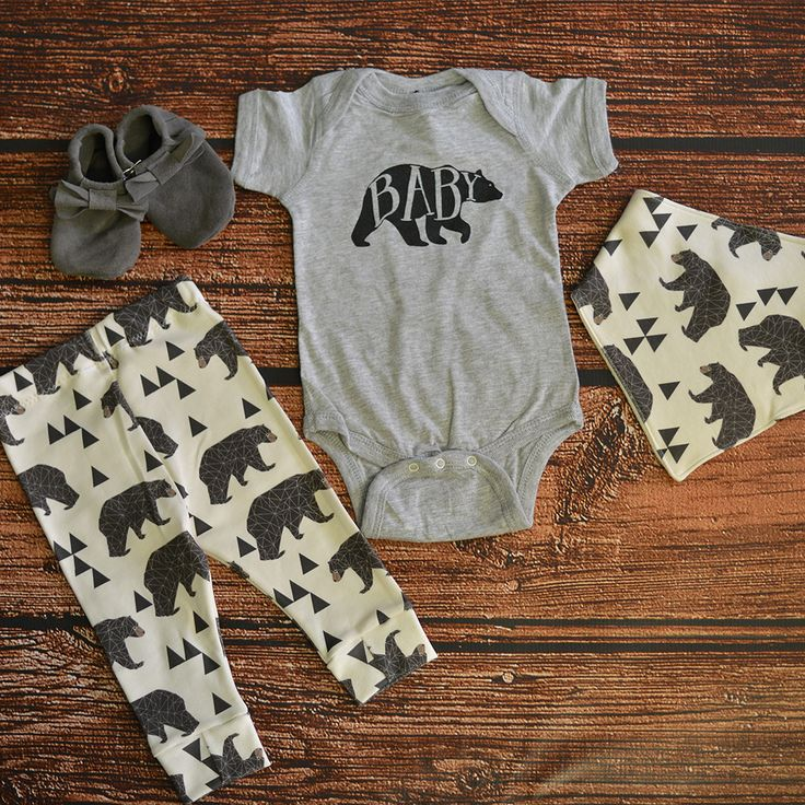 Baby Bear Onesie in Gray