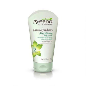AVEENO® POSITIVELY RADIANT® Skin Brightening Daily Scrub, with soy proteins to reduce skin discolorations.