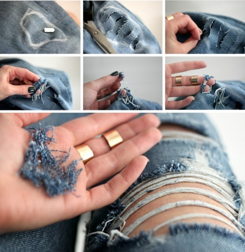 DIY Ripped Jeans:  1. Put on the jeans  mark the places you want the holes to be with chalk.  2. Cut horizontal slits on the spots of the holes.  3. Start pulling on the white horizontal threads/Use a needle to loosen them up.   4. Removing some of the horizontal threads.  5. Pick and pull out all the blue vertical threads.    6. Done! The holes will look more natural after your jeans have a wash.