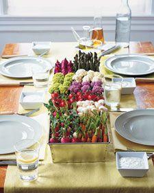 Vegetable Patch Centre Piece. <3: Food, Edible Centerpieces, Veggies Trays, Veggie Tray, Parties Ideas, Martha Stewart, Gardens Parties, Vegetable, Center Pieces