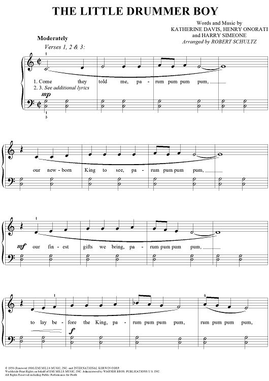 The Little Drummer Boy Sheet Music Preview Page 1