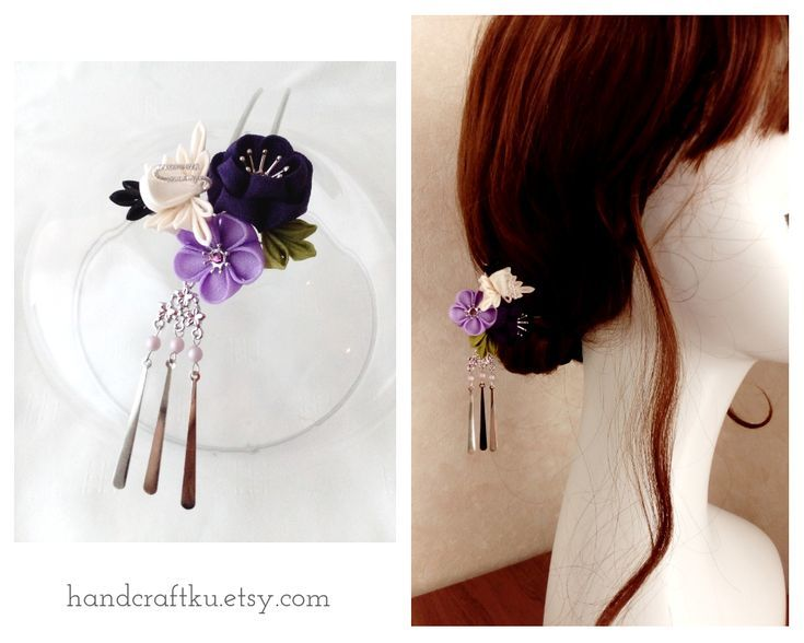 Japanese Hair Ornament Kanzashi Black Ball Stick Golden Iris Flower