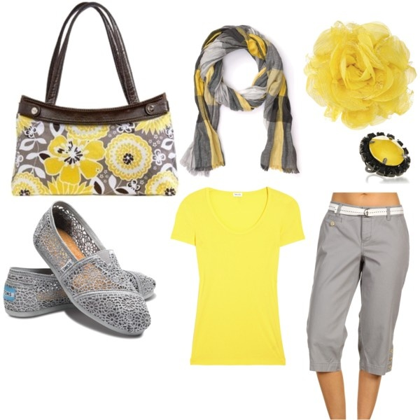: 31 Bags, Colors Combos, Style, Clothing, Awesome Blossoms, Grey, Yellow, Skirts Pur, Spring Outfits