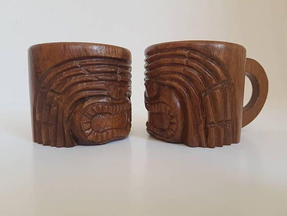 Pair of Vintage Wooden Cups // Small Wooden Drinking Cups //