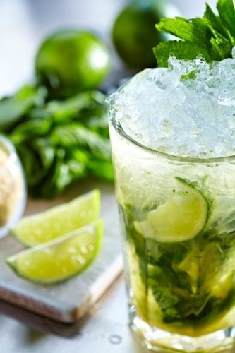 water with mint, lime, cucumber & ginger