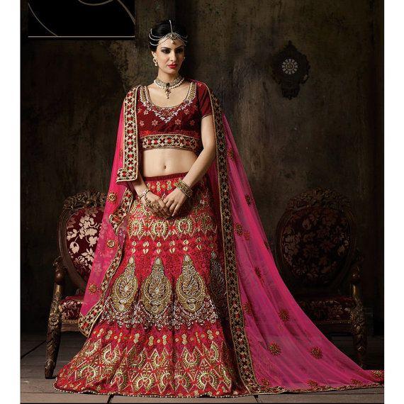 India Asia Pakistán Bollywood diseñador fiesta nupcial lehenga choli terciopelo neto cosido color de rosa, rojo, colección de la boda
