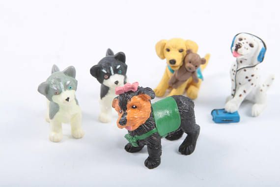 Puppy In My Pocket Vintage Miniature Dog Toys Hasbro Plastic Dalmatian With Headphones Labrador Husky  The Pink Room  170305 by ThePinkRoom