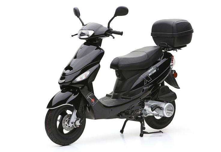 Nova Motors Motorroller inkl. Topcase, 125-ccm, 82 km/h, »City Star«. Toller Fahrspaß auf zwei Rädern - günstig in der Anschaffung und dank des 125-ccm-1 Zylinder-4 Takt-Motors sparsam im Verbrauch. Für genügend Stauraum sorgt das Topcase und das Staufach unter der Sitzbank.125-ccm- 4-Takt-Motor nach EURO-3-Norm, Leistung 5 kW/6,8 PS, Höchstgeschwindigkeit 82 km/h, Scheibenbremse vorn, Trommelb...