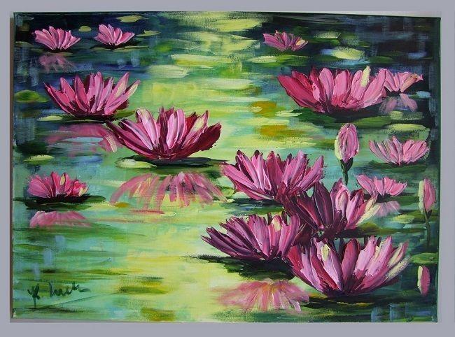 Water Lilies Impression IMPASTO Original Oil Painting flowers lake Europe Artist #Impressionism