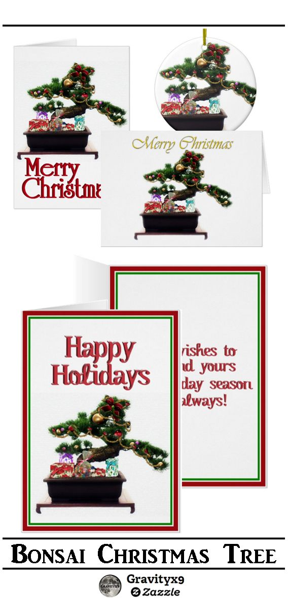 Christmas Bonsai  Tree Greeting Cards  available in three size options by  #I_love_xmas & #Gravityx9 Designs from Zazzle.  #christmasshopping #christmastree #BonsaiTree