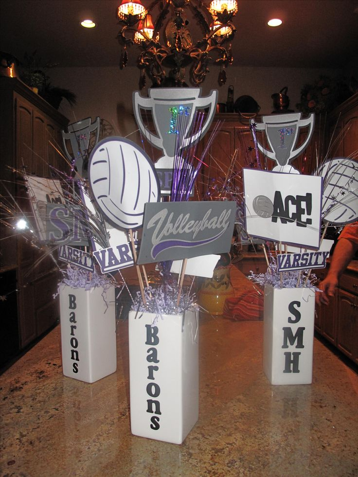 Volleyball centerpieces with my Cricut