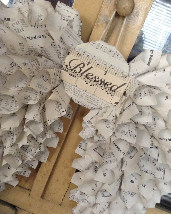 Blessed Vintage Sheet Music Angel Wings by SarahCoffeyDesigns