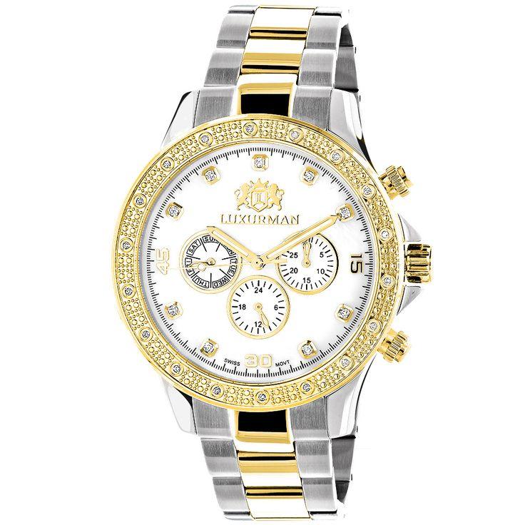17 best ideas about mens diamond watches rolex luxurman mens diamond watches 18k yellow white gold plated swiss quartz liberty